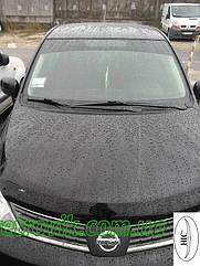 Дефлектор капота Nissan Tiida/Ниссан Тиида 2006-2011 до рестайлинга Хик на крепежах