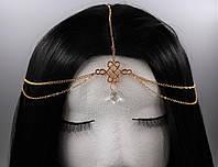 Роскошная тика на голову цепочка Кристалл (золото) №27, фото 1