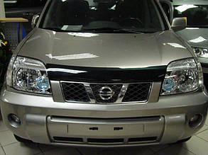 Дефлектор капота Nissan X-Trail/Ниссан Х-Треил с 2001-2007 Хик на крепежах