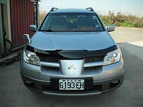 Дефлектор капота Mitsubishi Outlander/Митсубиси Аутлэндер 2003-2009 Хик на крепежах