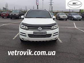 Дефлектор капота Volkswagen Touareg/ Фольксваген Туарег с 2010-2018 Хик на крепежах