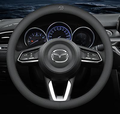 Чехол оплетка на руль Lux Cool с логотипом натуральной кожи для автомобиля Mazda