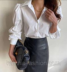 Сорочка жіноча біла і чорна з об'ємними рукавами