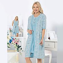 Одяг для сну жіноча бавовняна пеньюар з халатом Seyko з пташками