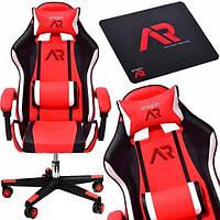 Кресло геймерское JUMI ARAGON TRICOLOR RED с подголовником компьютерное раскладное профессиональное Красное