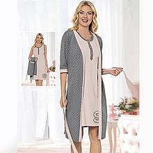 Одежда для сна женская хлопковая пеньюар с халатом Seyko