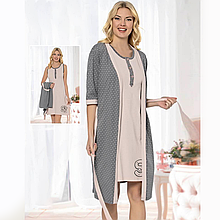 Одяг для сну жіноча бавовняна пеньюар з халатом Seyko