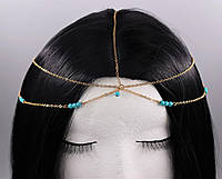 Нежная цепочка украшение на голову с бирюзовыми бусинами Золото №28, фото 1