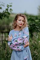 Льняное платье-вышиванка, арт. 4547