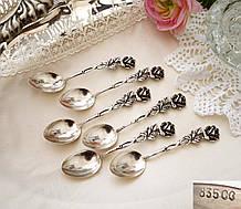 Шесть серебряных чайных ложек, Хильдесхаймская Роза, серебро, 835 проба, Германия, Christoph Bach