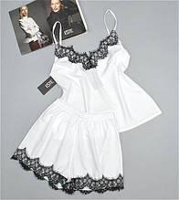 Пижамы женские комплект майка и шорты с кружевом 212-белая.