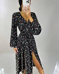 Женское шелковое платье на запах с разрезом Нинель 42-44 р