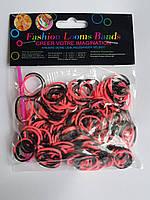 Резинки для плетения браслетов красные и черные 200шт