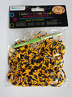 Резинки для плетения браслетов оранжево-черные 200шт