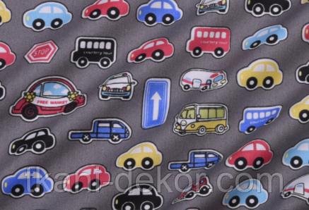 Сатин (бавовняна тканина) машинки та дорожні знаки на сірому