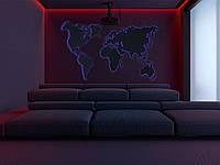 Деревянная карта Мира с RGB подсветкой и гравировкой XXL-250x150 см