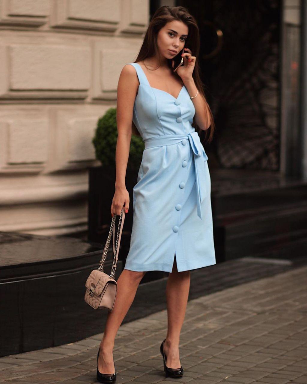 Женское Летнее Платье из Льна Голубое