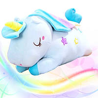 Іграшка-подушка Єдиноріг з пледом 3 в 1 Блакитний