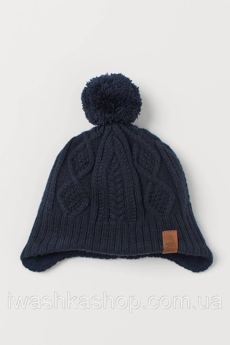 Теплая вязаная шапка с флисовой подкладкой для мальчика 1,5 - 4 года, р. 92 -104, H&M