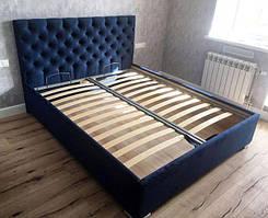 Двуспальная кровать, мягкое изголовье каретная стяжка