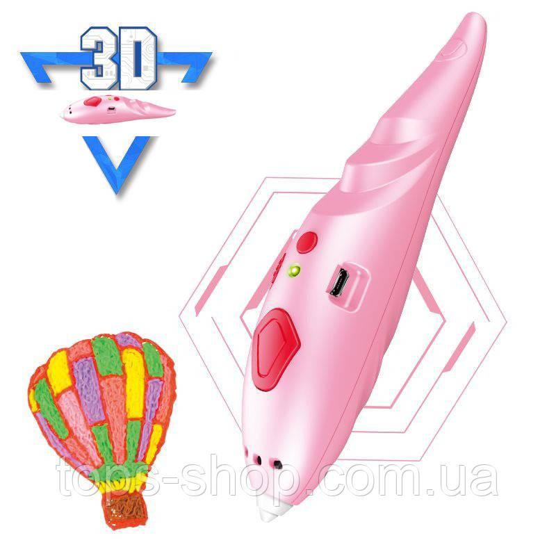 3D ручка Низькотемпературна безпечна 3d ручка на акумуляторі трафарети, пластик в комплекті рожева 3Д ручка