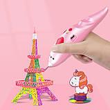 3D ручка Низькотемпературна безпечна 3d ручка на акумуляторі трафарети, пластик в комплекті рожева 3Д ручка, фото 7