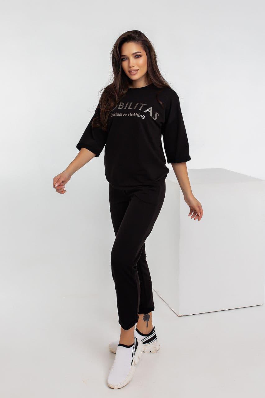Спортивний костюм жіночий NOBILITAS 42 - 48 чорний трикотаж (арт. 21007)