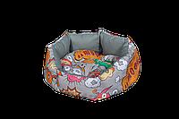 """Лежак (лежанка) для кошек и собак Мур-Мяу """"Зефирка Мини"""" Серый"""