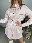 Зручне жіноче котонове міні сукня-сорочка  з довгим рукавом, 00513 (Пудровий), Размер 42 (S), фото 4