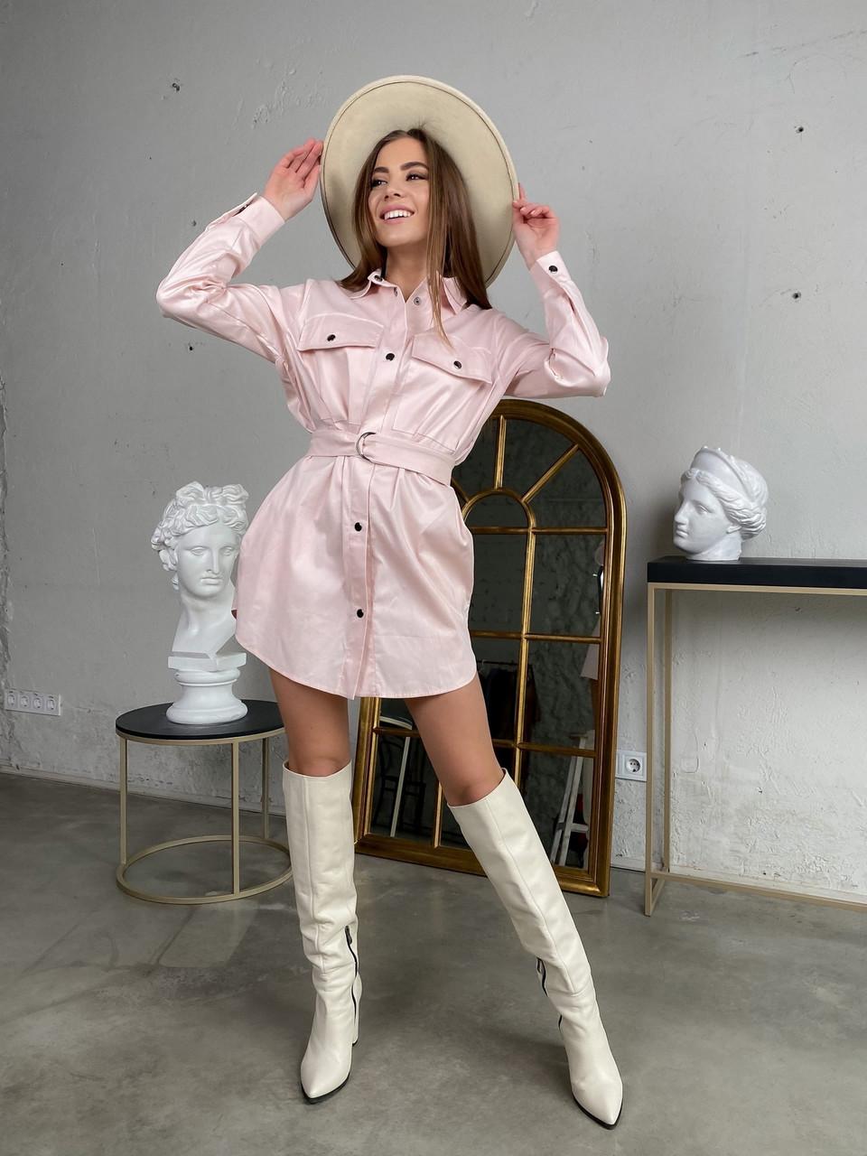 Зручне жіноче котонове міні сукня-сорочка  з довгим рукавом, 00513 (Пудровий), Размер 42 (S)