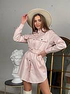 Зручне жіноче котонове міні сукня-сорочка  з довгим рукавом, 00513 (Пудровий), Размер 42 (S), фото 3