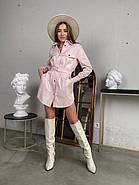 Зручне жіноче котонове міні сукня-сорочка  з довгим рукавом, 00513 (Пудровий), Размер 42 (S), фото 2