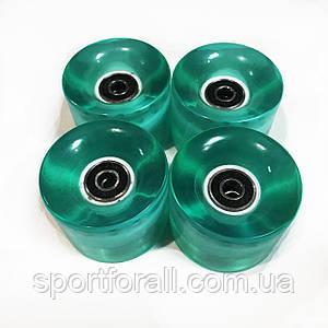 Колеса для пенниборда ( скейтборда ) с подшипником 4шт КЛ-65(зеленые)