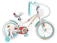 """Велосипед детский для девочек с боковыми колесами Formula Cream 18"""" алюминиевая рама белый"""