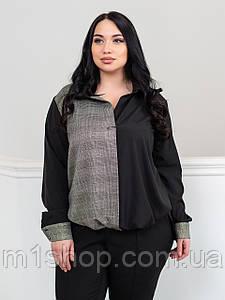 Жіноча чорна блузка без гудзиків в клітку (Холі lzn)