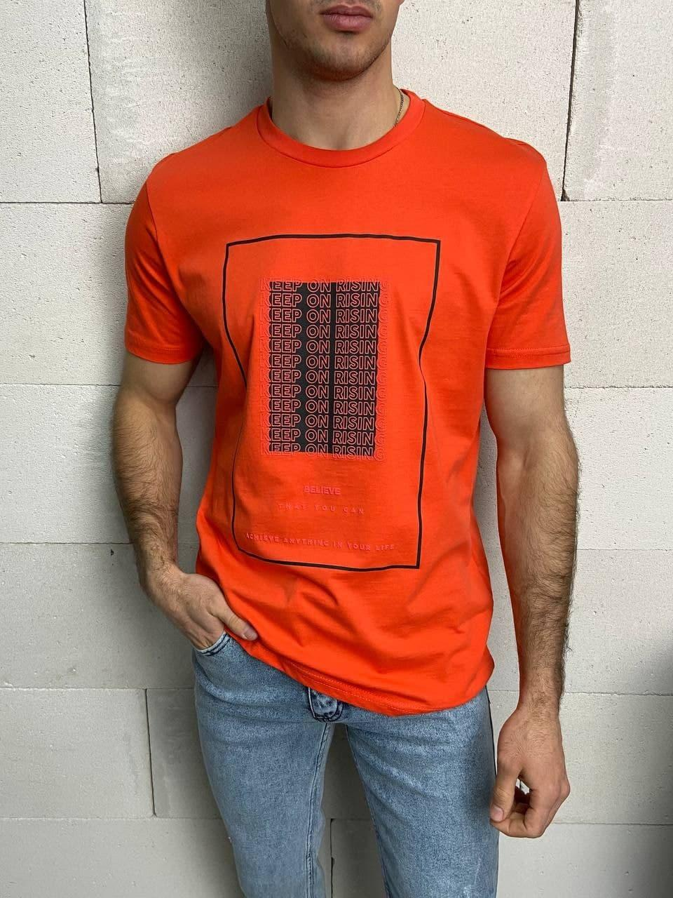 Чоловіча футболка оранжева Keep On Rising