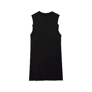 Модное однотоннее платье-майка черного цвета (базовый гардероб) ТМ СДВУ модель SD1