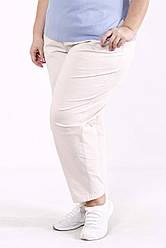Штани для повних жінок з льону без застібок бежеві