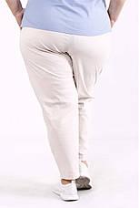 Брюки для полных женщин из льна без застежек бежевые, фото 2