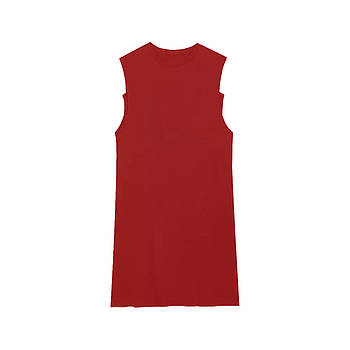 Модное однотоннее платье-майка красного цвета (базовый гардероб) ТМ СДВУ модель SD1