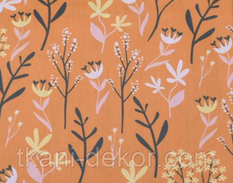 Сатин (бавовняна тканина) гілочки квіточки на гірчиці