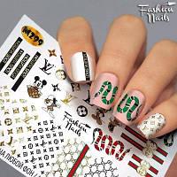 Слайдер-дизайн наклейки на ногти для маникюра водные Fashion Nails М 299 микки,змеи,gucci,гуччи,Louis Vuitton