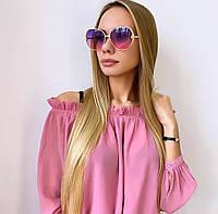 Рожеві жіночі кольорові сонцезахисні окуляри в золотій оправі, фото 1