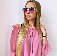 Женские розовые цветные солнцезащитные очки в золотой оправе