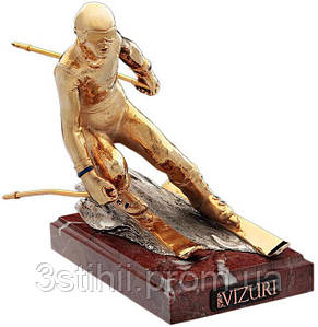 Статуэтка из бронзы «Горнолыжник (золотой)» Vizuri (Визури) S03/P
