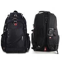 Городской рюкзак Wenger SwissGear 8810 с USB и AUX швейцарский Чёрный