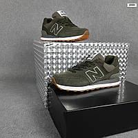 Женские кроссовки New Balance 574 бутылочного цвета. Стильные кроссовки женские Нью Беленс цвета хаки.