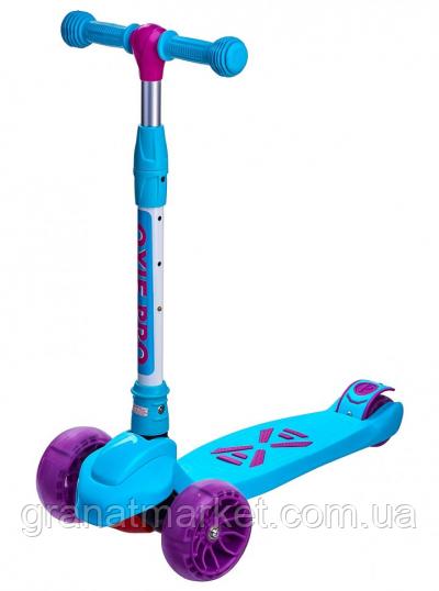 Дитячий триколісний самокат Maraton Macro Oxie, що світяться колеса, Бірюзовий