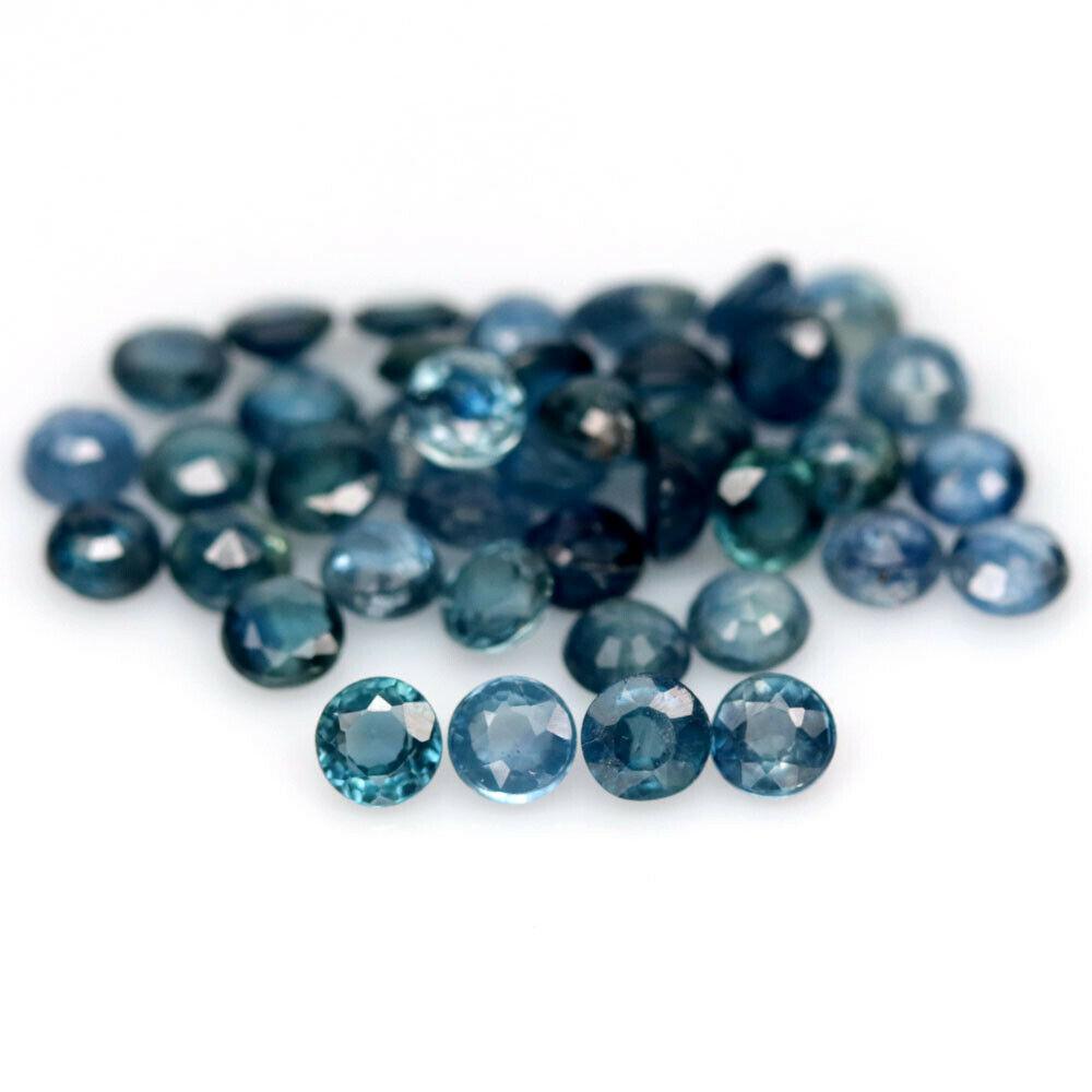 7.59 кт Природный синий сапфир круг 3.2-3.3 мм. 40 штук.