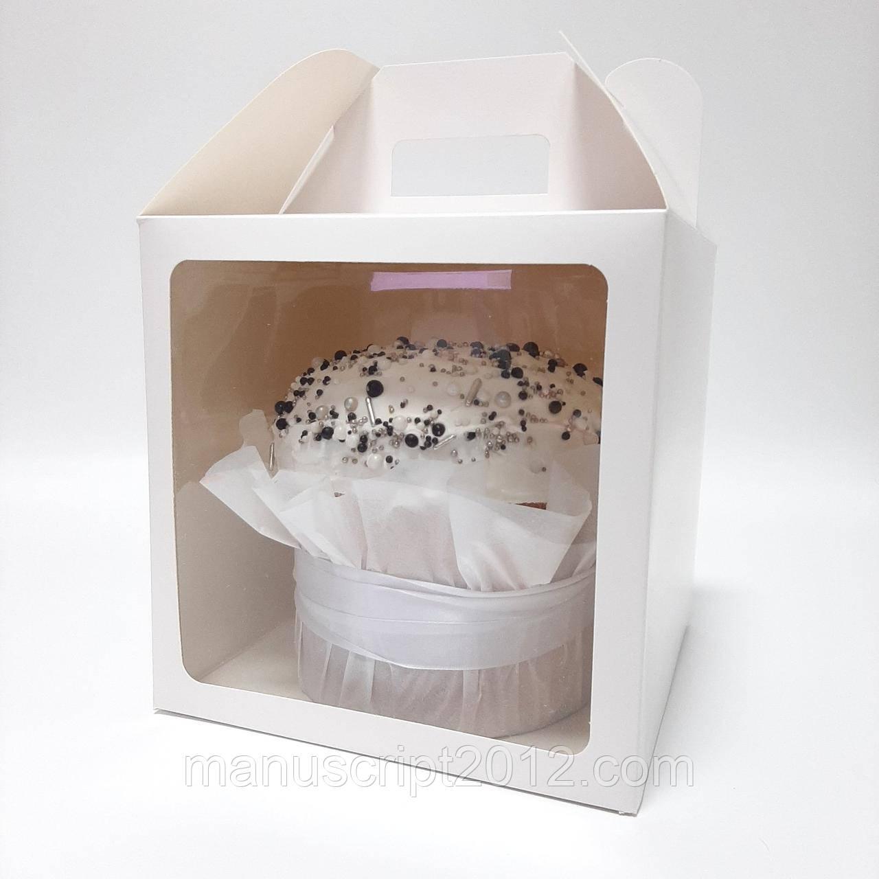 Коробка для тортів, пасок, пряникових будиночків біла 240х240х240 мм.